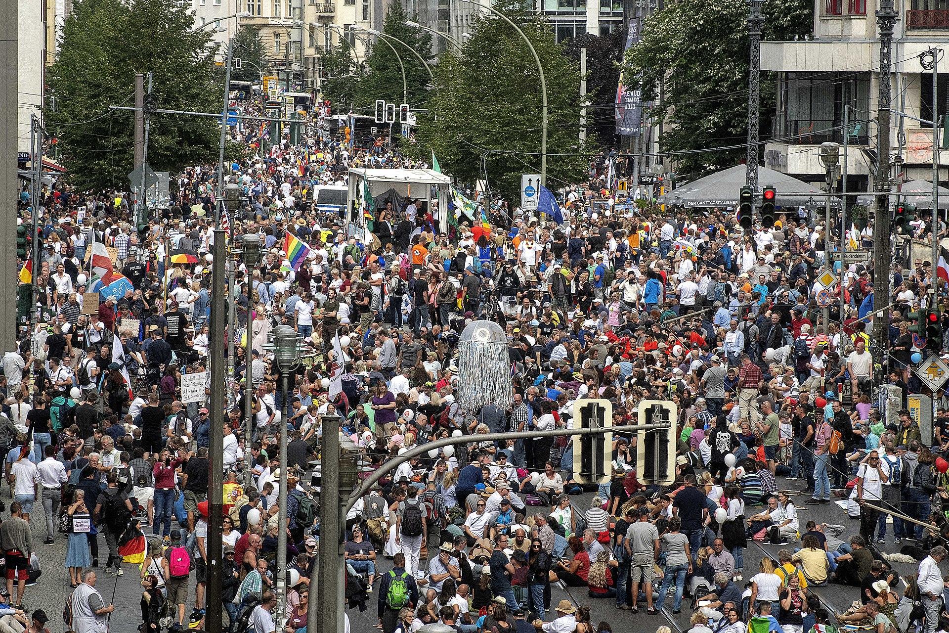 """Foto vom gestoppten Demonstrationszug """"Versammlung für die Freiheit!""""[42] von Querdenken 711 am 29. August 2020"""