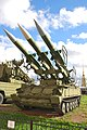 2P25 TEL with 3 3M9 missiles of the surface-to-air missile complex 2K12 «Kub» in Military-historical Museum of Artillery, Engineer and Signal Corps in Saint-Petersburg, Russia.jpg