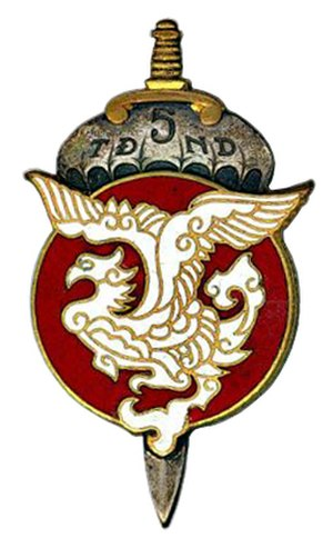 "Vietnamese National Army - TDND 5 (a.k.a. ""5e BAWOUAN"") emblem. This elite airborne unit fought several battles including Dien Bien Phu."