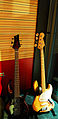 5 string bass & Fender Jazz Bass, Avex Honolulu Studios, 2007-12-19.jpg