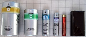 AA battery - D, C, AA, AAA, AAAA cells, and a 9-volt battery