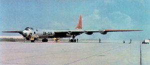 Strategic Air Command in the United Kingdom - Consolidated B-36B-1-CF Peacemaker Serial 44-92028 of the 7th Bombardment Wing; B-36s such as this from the 7th Bomb Wing made routine visits to RAF Lakenheath during the 1950s.