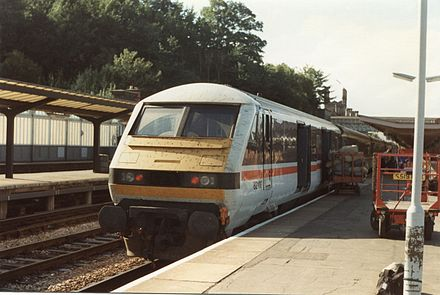 The direct InterCity from Shrewsbury to London Euston with a DVT and mailbags delivering the Royal Mail at a time when British Rail ran the network. 82109 - Shrewsbury (8959190070).jpg