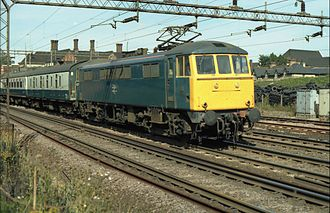 Railway electrification in Great Britain - An electric express on the West Coast Main Line in the 1970s.