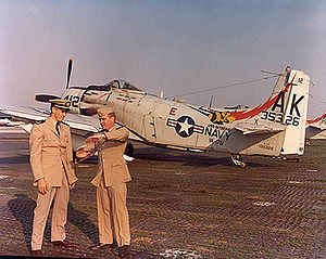 "VA-176 (U.S. Navy) - VA-176 A-1H in 1966 with ""MiG-Killer"" LTJG W. T. Patton"