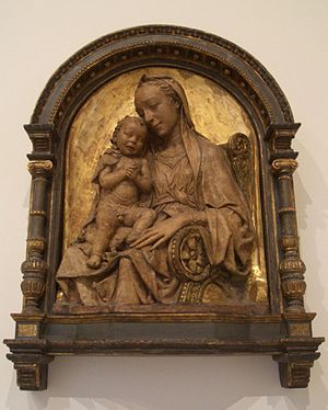 Antonio Rossellino - Madonna and Child, terracotta part gilded (Berlin).