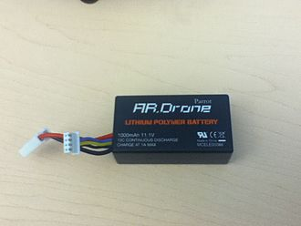 JST connector - Lithium polymer battery for Parrot AR.Drone with 4-pin JST-XH female connector (right, facing the camera) and 2-pin mini-Tamiya connector (left).