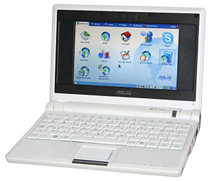 Netbook - An Asus Eee PC 700, the first mass-produced netbook, which used a 7-inch screen.