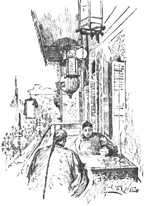 "Chinese immigration to Mexico - From book: Mexico, California and Arizona; being a new and revised edition of Old Mexico and her lost provinces. (1900) (image caption ""A Balcony In The Chinese Quarter"")"