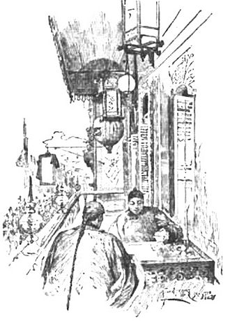 """Chinese immigration to Mexico - From book: Mexico, California and Arizona; being a new and revised edition of Old Mexico and her lost provinces. (1900) (image caption """"A Balcony In The Chinese Quarter"""")"""