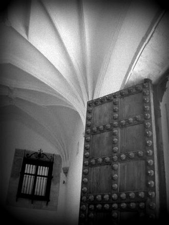 Museum of Santa Cruz - Image: A Black and White Photo of an Antique Door in Toledo Spain