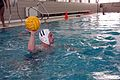 A U.S. Marine with 1st Reconnaissance Battalion prepares to throw a polo ball during a water polo tournament at Al Asad Air Base, Iraq, March 15, 2009 090315-M-KL291-040.jpg