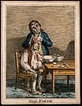 A grimacing invalid seated before a bowl having received an Wellcome V0011191EL.jpg