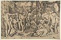 A group of emaciated men and women gathered around a skeleton laid on the ground and a figure of Death as a winged skeleton standing above it holding an open book MET DP818698.jpg