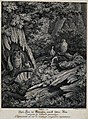 A magpie and an owl are sitting on a branch in a forest, tie Wellcome V0021123.jpg