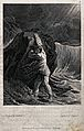 A man clinging to a rock on the shore during a storm. Engrav Wellcome V0025777.jpg