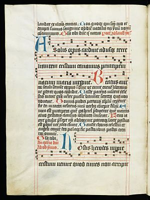 Antiphonary - The 5th century abecedarius A solis ortus cardine by Coelius Sedulius in a late 15th antiphonary from the former Kloster St. Katharina in St. Gallen