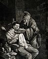 A wizened old barber who wears a pointed hat is shaving a yo Wellcome V0019698.jpg