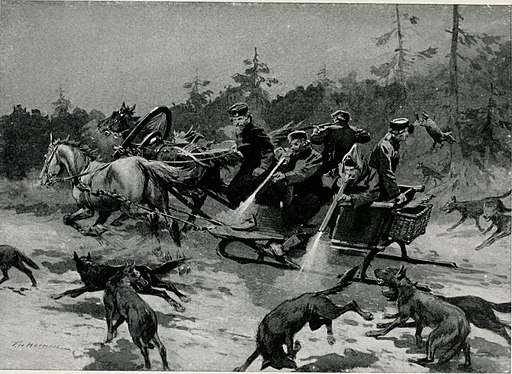 A wolf-hunt in Russia, c. 1913