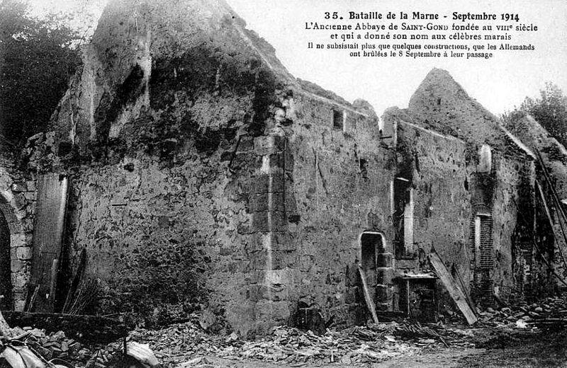 Ruiner av klosteret Saint-Gond i 1914