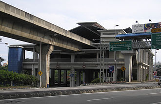 Abdullah Hukum LRT station - The Abdullah Hukum station is fashioned to be elevated above an access roadway, similar to the Bangsar station.