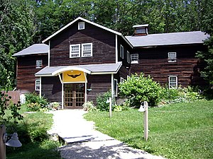 The Abode of the Message - Meditation Hall on the Main Campus, a replica of a Shaker-style apple barn.