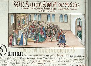 Adolf of Germany - Deposition of Adolf and Election of Albert, illustration from the Chronicles of the Bishops of Würzburg
