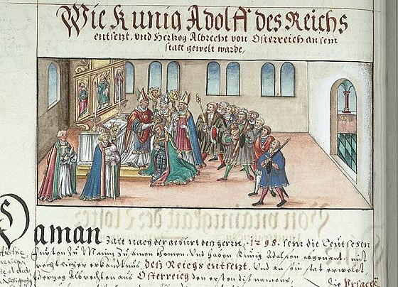 Deposition of Adolf and Election of Albert, illustration from the Chronicles of the Bishops of Wurzburg Absetzung Adolfs und Wahl Albrechts I.jpg