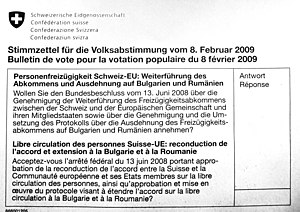 Optional referendum - A ballot paper of the votation, organised on 8 February 2009, on the extension of the free movement of persons to Bulgaria and Romania.