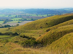 Battle of Roundway Down - The view from the scarp known as 'Oliver's Castle' into the 'Bloody Ditch'