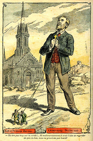 Judeo-Masonic conspiracy theory - Catholic France driven by Jews and Freemasons, drawing by Achille Lemot in Le Pèlerin, 1902.