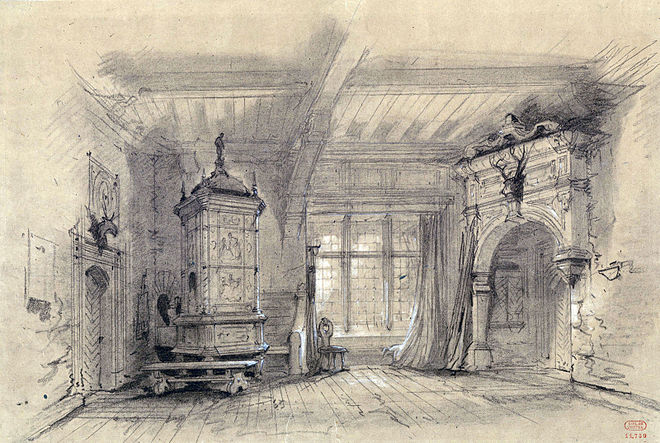 Act 2 of Robin des bois, a room in the gamekeeper's house, as performed at the Theatre Lyrique in 1855 Act2 Robin des bois 1855 Theatre Lyrique - Gallica.jpg