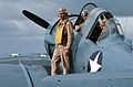 Actors on T-6 Texan aboard USS Lexington (AVT-16) during filming of War and Remenbrance 1987.jpg