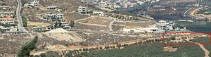 2010 Israel–Lebanon border clash - Village of Adaisseh in Lebanon, as seen from Misgav Am, Israel. Area of the 2010 Israel–Lebanon border clash marked with red