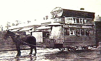 Trams in Adelaide - A double-decked horse car in an Adelaide suburb, circa 1908