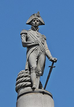 Nelson on top of Nelson's Column in Trafalgar Square in London Admiral Horatio Nelson, Nelson's Column, Trafalgar Square, London.JPG
