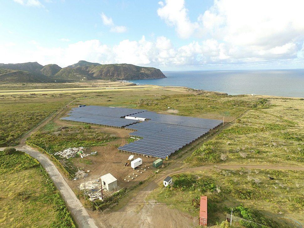 Aerial view on the solar park on Sint Eustatius