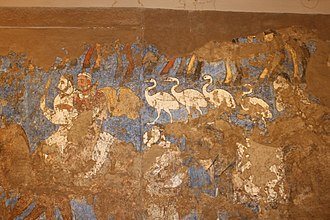 History of Central Asia - A monumental Sogdian wall mural of Samarkand, dated c. 650 AD, known as the Ambassordors' Painting, found in the hall of the ruin of an aristocratic house in Afrasiab, commissioned by the Sogdian king of Samarkand, Varkhuman