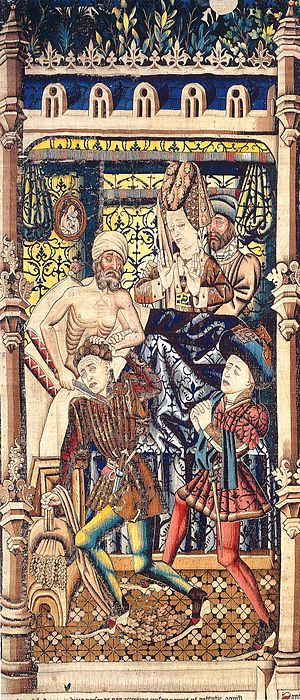 The Justice of Trajan and Herkinbald - A detail from The Justice of Trajan and Herkinbald tapestry showing Herkinbald slaying his nephew.
