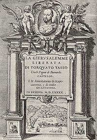 Agostino Carracci, Frontespizio della prima edizione illustrata della Gerusalemme Liberata, 1590.jpg