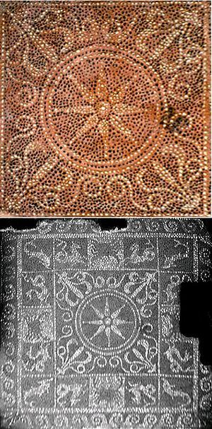 Ai-Khanoum - Ai- Khanoum mosaic (central detail in color).