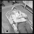 Aircrewman, wounded during raid on Rabaul, on board the USS Saratoga (CV-3). Alva Parker (ARM1) who suffered shrapnel... - NARA - 520891.tif
