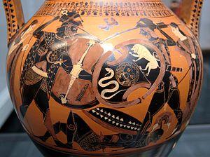 Painter of Munich 1410 - Achilles and Memnon, Between Thetis and Eos, fighting over the body of Antilochos, amphora circa 510 BC. Munich: Staatliche Antikensammlungen.