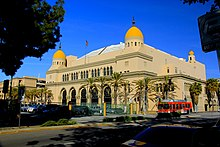 Exterior shot of Shrine Auditorium.