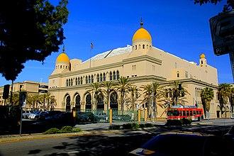 Evita (1996 film) - Image: Al Malaikah Temple Shrine Auditorium, 655 W. Jefferson Blvd. University Park