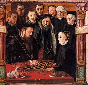 Archduchess Anna of Austria - Anna and her husband Albert playing chess, painting by Hans Muelich (1552)