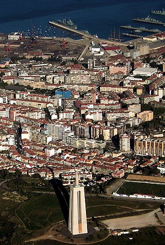 Almada - Aerial view of Almada with the famous Sanctuary of Christ the King