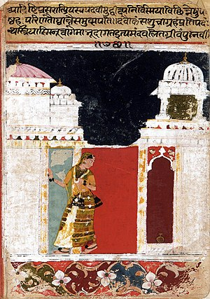 Amaru Shataka - Wife awaits her Husband, Verse 76, Amaru Shataka by Amaru, early 17th-century painting.