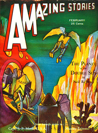 "Neil R. Jones - ""The Planet of the Double Sun"", the second entry in the ""Professor Jameson"" series, was the cover story in the February 1932 issue of Amazing Stories"