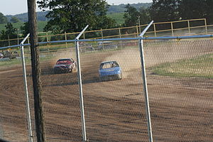 Amherst, Wisconsin - 4 cylinder stock cars racing at the fairgrounds